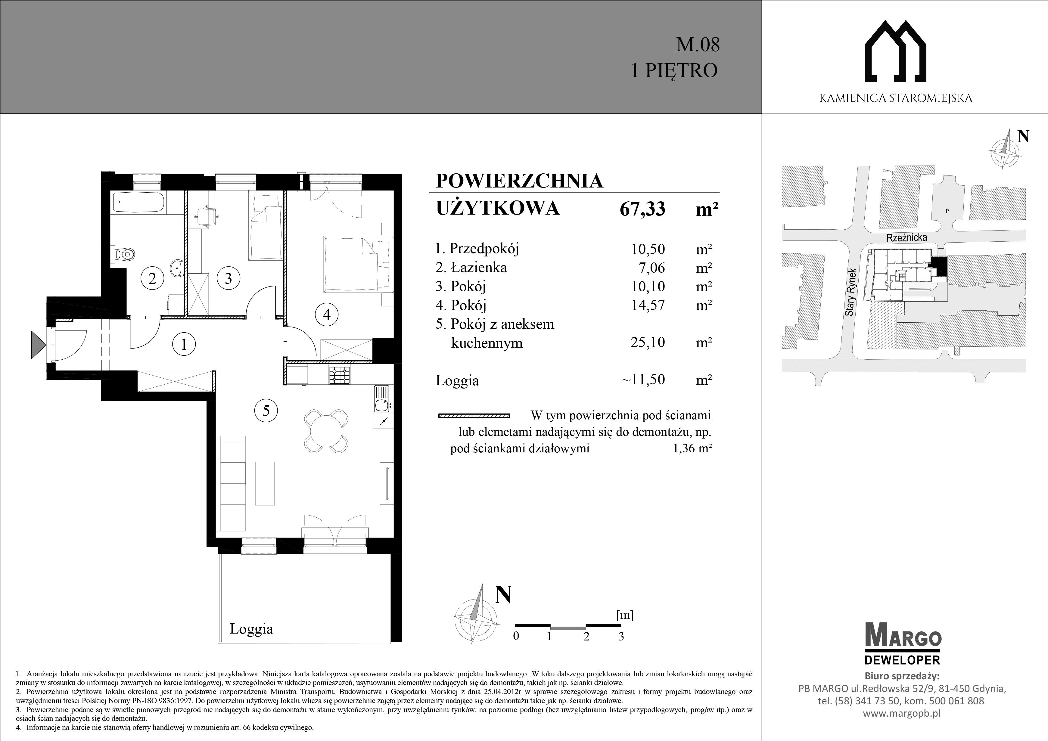 Rzut mieszkania 3 pokojowego w Kamienicy Staromiejskiej